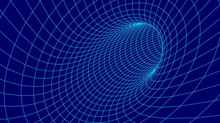Vector tunnel or wormhole. Wireframe 3D surface tunnel grid.