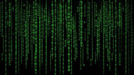 Digital background green matrix. Binary computer code. Hacker concept. 3d rendering.