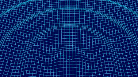 Futuristic grid background. Abstract vector wireframe landscape. Digital background with connected lines. Vector illustration.