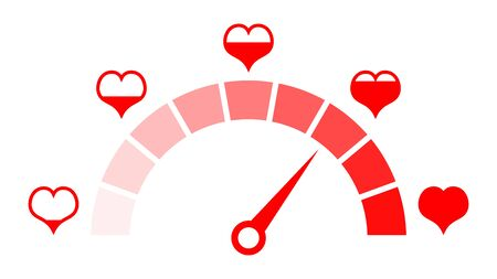 Love meter of Valentine's day. Love heart indicator icon.