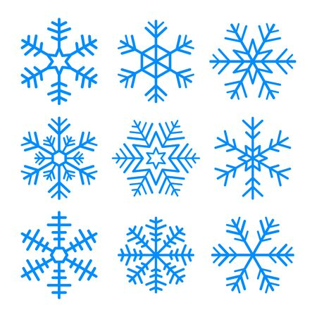 Set of vector blue snowflakes. Isolated symbol on white background. Ilustración de vector