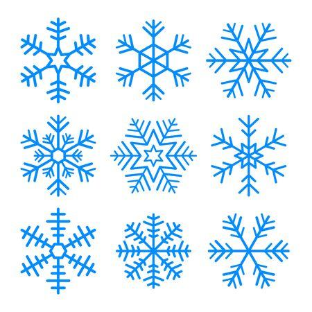Set of vector blue snowflakes. Isolated symbol on white background. Ilustração Vetorial