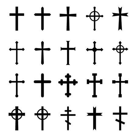 Set of christian crosses. Vector icon on white background.