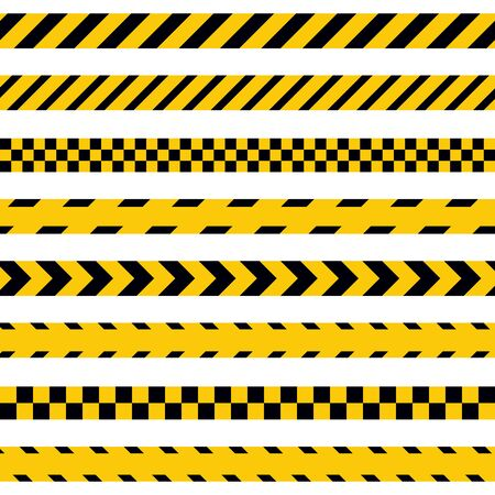 Vector warning tapes. Isolated police line on white background. Black and yellow tapes.