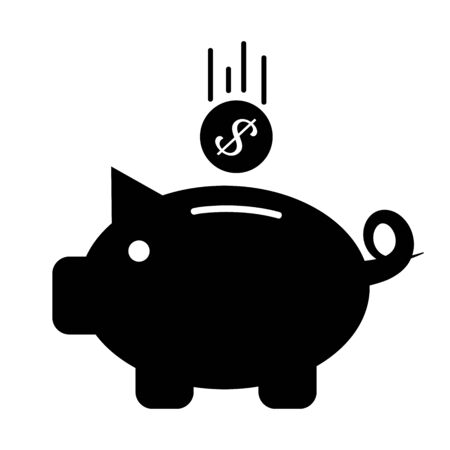 Piggy bank icon. Black vector symbol on white background.