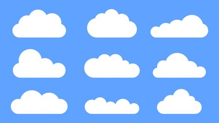 Set of cloud icon. Isolated vector symbol on blue background.