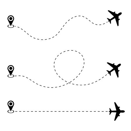 Airplane path route with start point. Vector icon on white background.