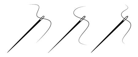 Set of sewing needle. Vector icon on white background. Ilustração