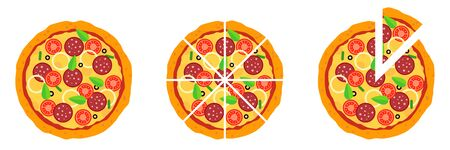 Whole and chopped pizza icon. Vector symbol on white background.