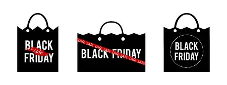 Set of vector black paper bag with Black Friday sale banner.