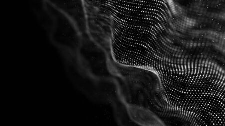 Wave of particles. Abstract background with a dynamic wave.