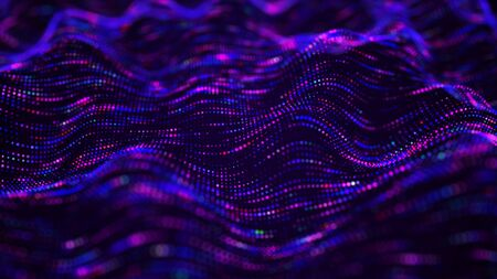 Wave of particles. Digital background with connected color dots. 3d rendering. Imagens