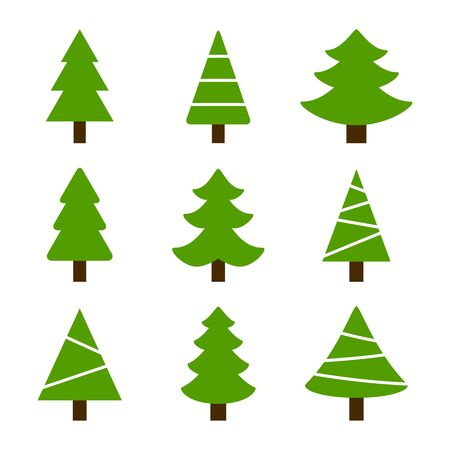 Vector collection green christmas trees.