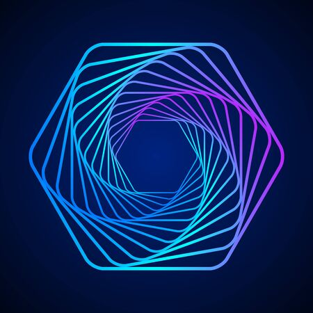 Colored swirling lines hexagon shape. Vector twisted wireframe geometric element. Abstract symbol consisting of hexagons. Ilustração