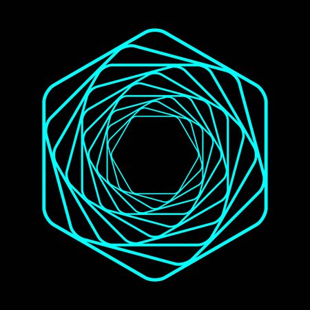 Colored swirling lines hexagon shape. Vector twisted wireframe geometric element. Abstract symbol consisting of hexagons. Vectores