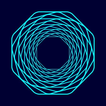 Colored swirling lines octagon shape. Vector twisted wireframe geometric element. Abstract symbol consisting of octagon.