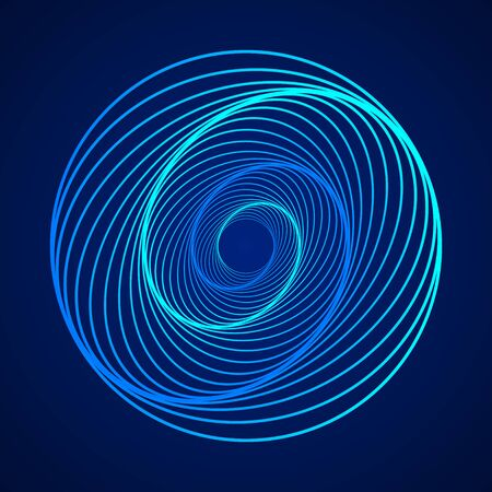 Colored swirling lines round shape. Vector twisted wireframe geometric element. Technology graphic spiral.