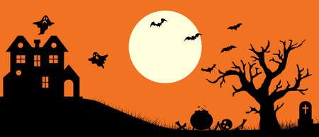 Happy Halloween banner. Halloween orange background with haunted house and tree. Full moon in the sky and bats.