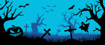 Happy Halloween banner. Halloween night background with pumpkin and trees on cemetery. Bats in the sky.