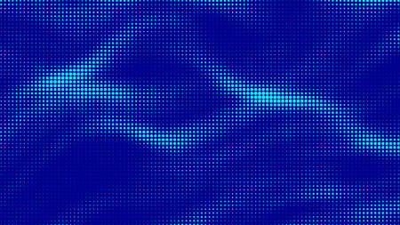 Vector blue halftone pattern. Wave of particles. Abstract background with a dynamic wave.