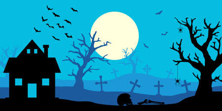 Happy Halloween banner. Halloween night background with home and trees on cemetery. Full moon in the sky and bats. Ilustração