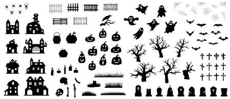 Collection of Happy Halloween silhouettes. Set of icon for celebration. Vector illustration. Ilustração