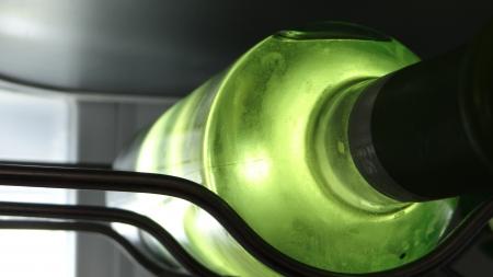 Bottle of white wine in the fridge Reklamní fotografie