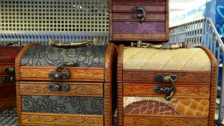 wooden chests on the shelf