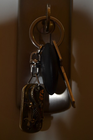 key fob: keys and key fob in the keyhole