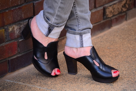 womenīŋŊs: Women s leather shoes with heels and gray jeans