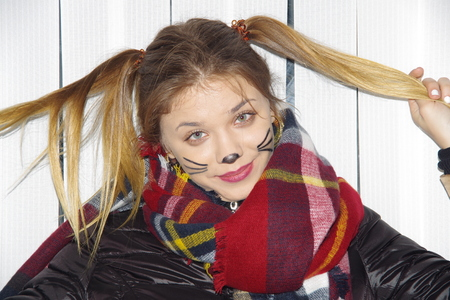 seventeen: teen girl with pigtails and painted mustaches Stock Photo