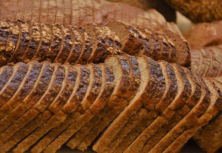 Sliced rye bread in bread slicer