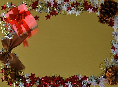 Decorative ornaments for christmas on a gold background