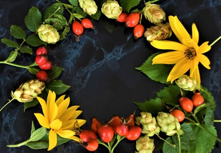 Pattern autumn, leaves, fruits, red, yellow, rose leaves, hop on a black marble background