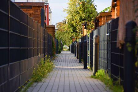 Alley walkway along apartment buildings