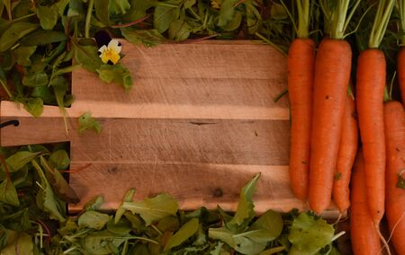 Carrots and lettuce on a wooden cutting board Reklamní fotografie