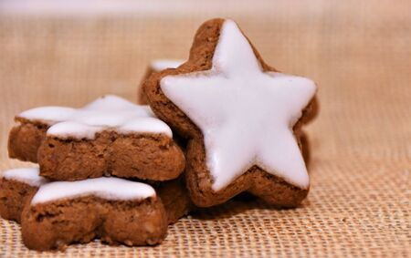 Baked star cookies with white icing