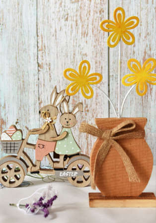 easter wooden decorations, bunnies and flowers