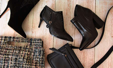women's leather shoes with high heels and small handbags