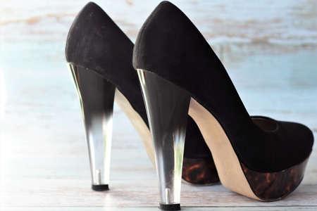 womens black high heels shoes close up