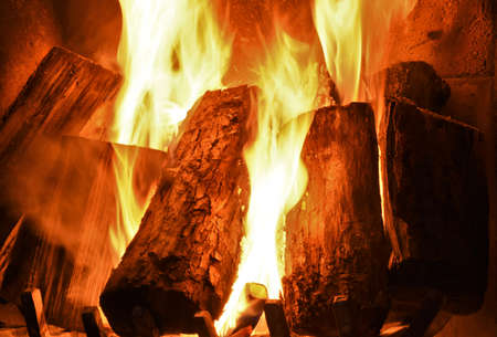 burning logs are burning in the fireplace
