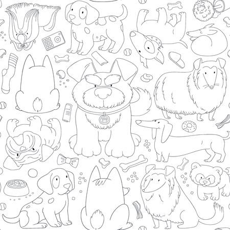 dalmatian puppy: Cute Dogs. Seamless pattern background in outline style.