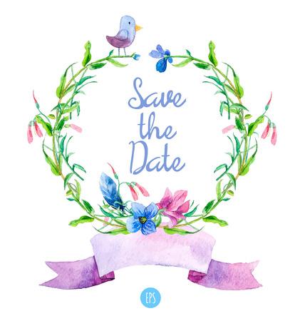 Acquerello corone floreali con fiori estivi, uccello, e nastro. Disegno a mano di design. Perfetto per Grazie carta, Promemoria, Biglietto d'auguri o invito. Archivio Fotografico - 42908379