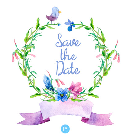 florescence: Watercolor floral wreaths with summer flowers, bird, and ribbon. Hand drawn design. Perfect for Thank you card, Save the Date, Greeting card or Invitation.