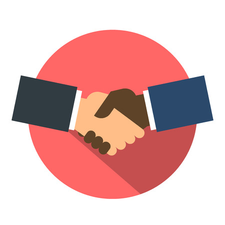 Shake hand flat icon Vectores