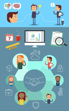 realization: Vector business infographics. Brainstorm, Idea, Realization. Business tools and connections.