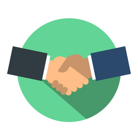 Shake hand flat icon Stock Illustratie