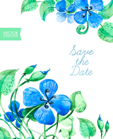 Greetings Card Template with watercolor colorful summer flowers and central white copy space for your text. Hand drawn design. Perfect for Thank you card, Save the Date, Greeting card or Invitation.