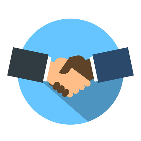 business relationship: Shake hand flat icon Illustration