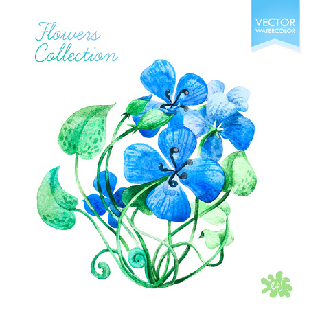 adorning: Blue watercolor flowers. Hand drawn design.